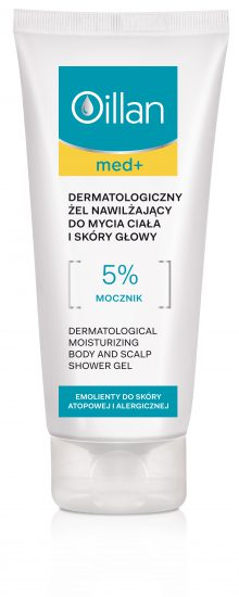 Dermatological moisturizing body and scalp shower gel